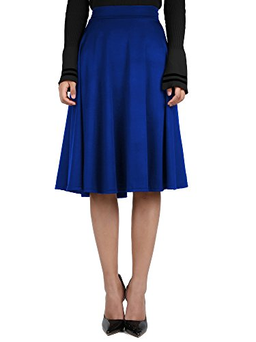 Blue Solid Skirt (Satinior Women High Waist Skirt Vintage Pleated A Line Flared Knee Length Midi Skirt with Pockets, Solid Color (XL Size, Blue))