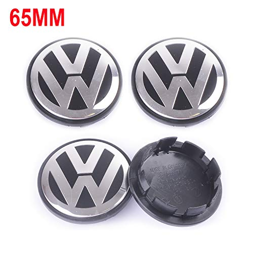 Wheel Center Caps Hubcap-4PCS 65mm 2.56'' Chrome Cap Cover Badge Emblem fit for Volkswagen VW Caddy EOS Golf Jetta Passat CC Phaeton Scirocco Sharan Tiguan Touran Transporter 3B7601171XRW 3B7 601 171