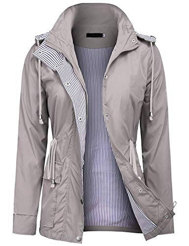 UUANG Womens Stylish Travel Trench Hoodie Windproof Hiking Packable Rain Jacket (Grey,S)