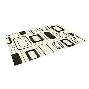 "Kess InHouse Heidi Jennings ""Cubes for Days"" Neutral White Outdoor Floor Mat/Rug, 4 by 5-Feet"