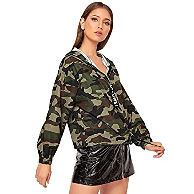 Romwe Women's Casual Long Sleeve Zip Up Lightweight Outwear Bomber Hooded Jacket: Clothing