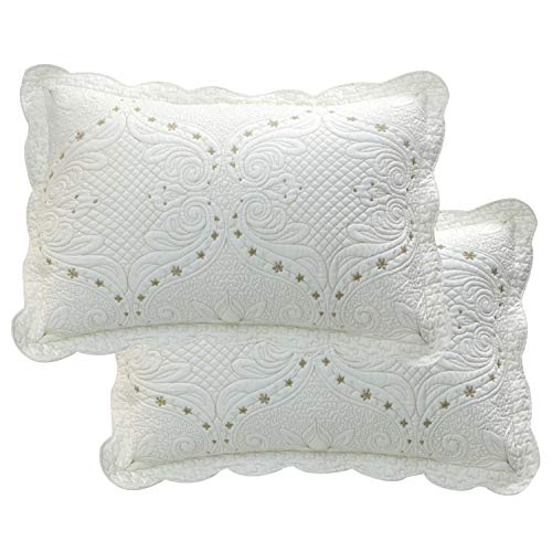 Brandream Cream White Vintage Embroidered Pillow Shams Standard Size Quilted Pillow Shams Set of 2 Ultra -