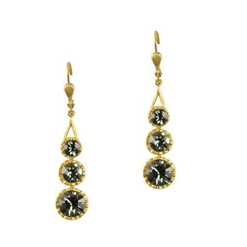 Catherine Popesco Gold Plated Swarovski Crystal 3-Stone - Stone Earrings Designer 3
