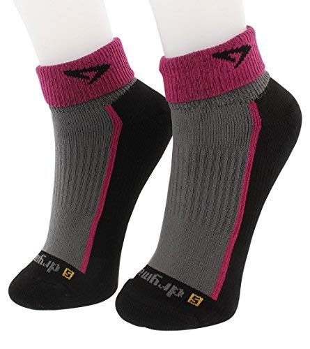 DryMax Trail Run 1/4 Crew (Turndown), October Pink/Black, W5-7 / M3.5-5.5 by Drymax