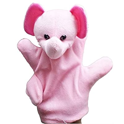 Miklan Storytelling Time Lovely Pink Elephant Baby Child Zoo Farm Animal Hand Glove Puppet Finger Sack Plush Toy: Toys & Games