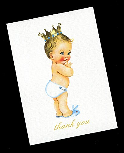 Thank You Cards, Baby Boy Prince with Gold Crown White Diaper (set of 20) by Susie Dee's
