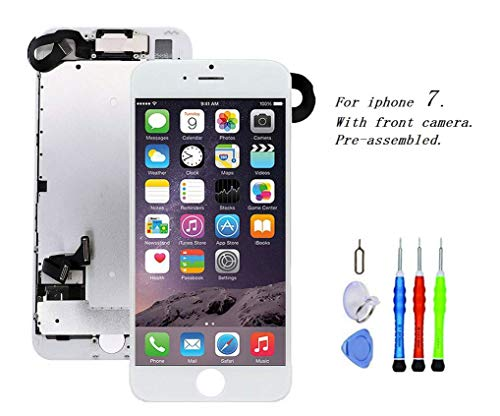 Premium Screen Replacement Compatible with iPhone 7 4.7 inch Full Assembly - LCD 3D Touch Display digitizer with Front Camera, Ear Speaker and Sensors, Compatible with All iPhone 7(White) ()