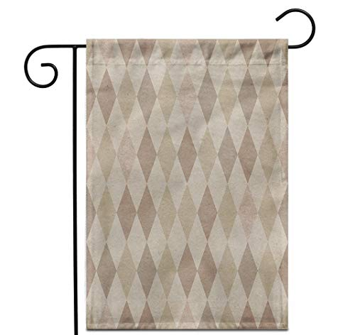 """Awowee 28""""x40"""" Garden Flag Beige Pattern Retro Harlequin Colorful Vintage Argyle Diamond Old Outdoor Home Decor Double Sided Yard Flags Banner for Patio Lawn"""