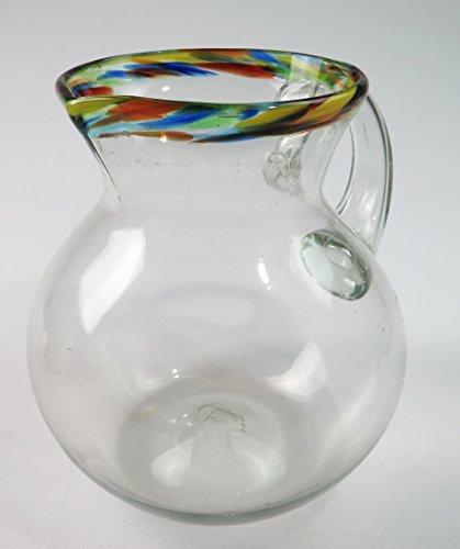 Mexican Glass Margarita Confetti Rim Pitcher, hand blown, round, bola, 80 oz. Mexico