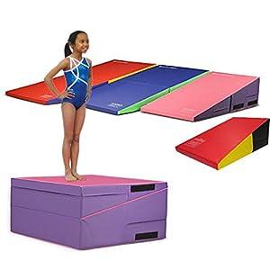 gymmatsdirect Folding Gymnastics Incline Mat Large Cheese Wedge Ramp Skill Shape Triangle Tumbling Mats for Kids Play Home Exercise Aerobics