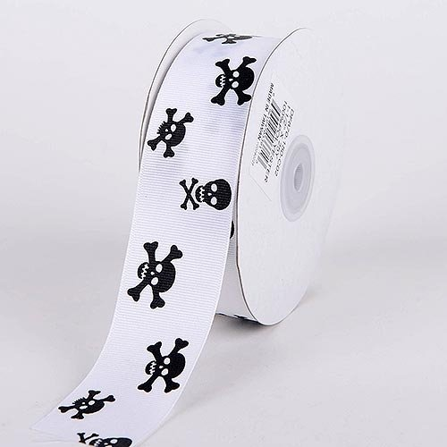 BBCrafts 3/8 inch x 25 Yards Grosgrain Skull Design Ribbon Decoration Wedding Party (White with Solid Black Skull) -
