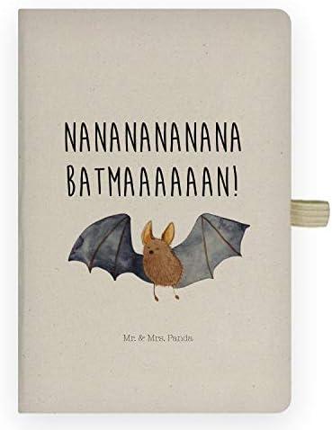 Mr. & Mrs. Panda Notizblock, Notizheft, DIN A5 Baumwoll Notizbuch Fledermaus fliegend mit Spruch - Farbe Transparent