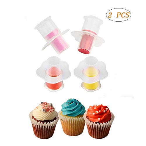 Swovo Cupcake Corer Cupcake Plunger Cutter Pastry Corer Baking Tool Decorating Divider Cake Filler 2PCS(Random Color)