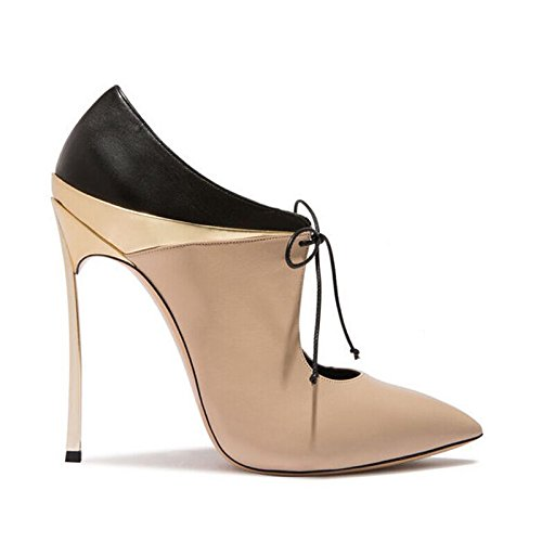 GAOLIM Tip Of The Week For High-Heeled Fine With D-Strap Stitching Women'S Shoes Women Boots, 37 235, Beige Matte Surface