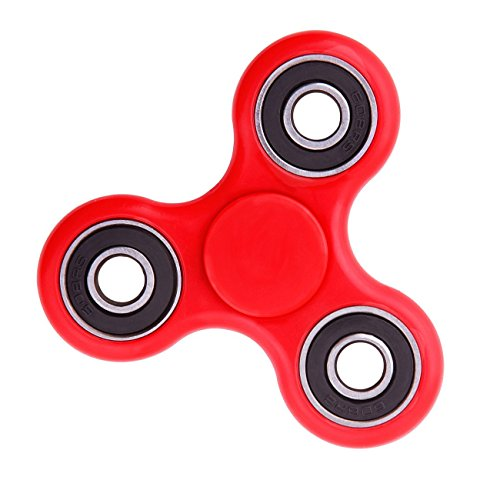Cppslee Hands Fidget Spinner Toy Stress Reducer- Perfect For ADD, ADHD, Anxiety, and Autism Adult Children (red+ sliver)