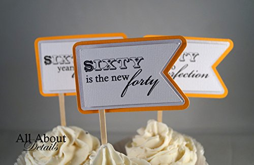 All About Details Melon Orange 60th Birthday Quotes Cupcake Toppers, Set of 12 by All About Details (Image #1)