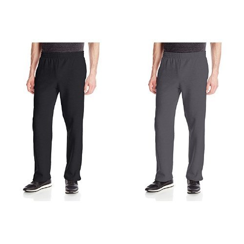 Fruit of the Loom Men's Pocketed Open-Bottom Sweatpants, Black, Medium with Sweatpants, Charcoal Heather, Medium