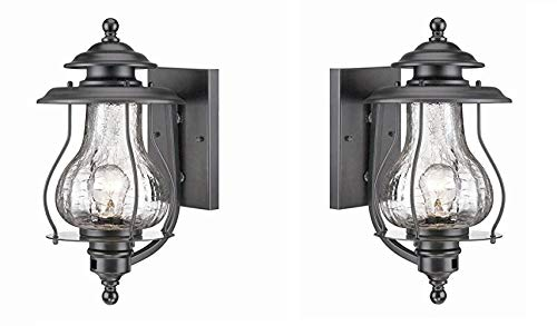 Acclaim 8201BK Blue Ridge Collection 1-Light Wall Mount Outdoor Light Fixture, Matte Black - 2 Pack