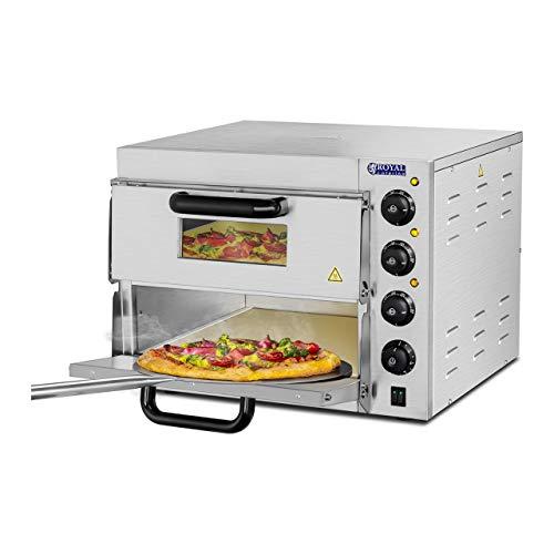Royal Catering RCPO-3000-2PS-1 pizzaoven elektrisch 2 kamers pizzabakoven pizza oven vuurvaste vaste bodem (3000 W, 2…
