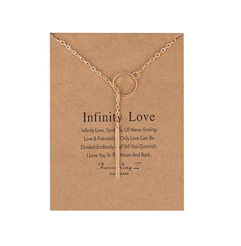 ForeveRing Z Infinity Love Lariat Open Circle Y Necklace Vertical Bar Looped Collarbone Chain Woman Jewelry ()