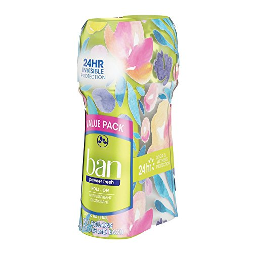 Ban Roll-On Antiperspirant Deodorant, Powder Fresh, 3.5oz (Pack of 2)