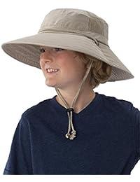 Sun Protection Zone Kids Unisex Lightweight Adjustable Outdoor Booney Hat (100 SPF, UPF 50+) - Khaki