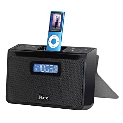 iHome iH24B Portable Stereo Alarm Clock Speaker System for iPod - Black