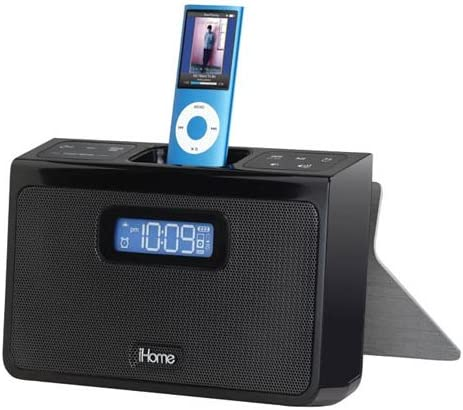 iHome iH24B Portable Stereo Alarm Clock Speaker System for iPod – Black
