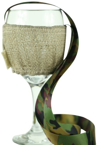 "CHC-Beverly Hills JITALI, High End Wine Necklace Holders ""Set of 2 "" Burlap and Camouflage Green Ribbon and Satin sewn in for personalized Note, Small"