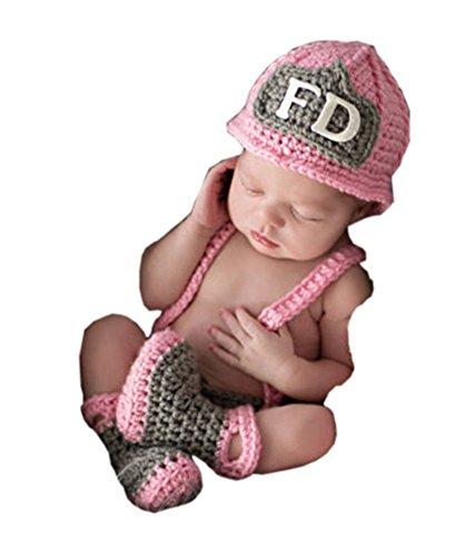 Pinbo Baby Girls Photography Prop Crochet FD Firewoman Hat Diaper Overalls]()