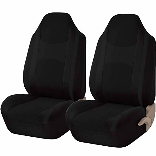 U.A.A. Inc. ® Mesh Honeycomb Front High Back Bucket Seat Covers Set (Black)