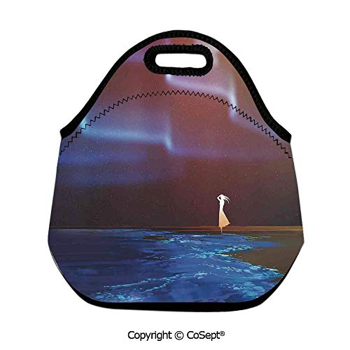 (Waterproof Lunch Bags,Woman on Beach Psychedelic Northern Lights Sky Star Picture Print,for Women Men Kids Boys Girls(11.81x6.29x11.02 inch) Blue Purple)