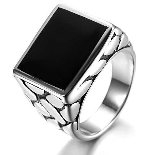 Key Voicemail (Stainless Steel Ring for Men, Square Ring Gothic Silver Band 1817MM Size 9 Epinki)