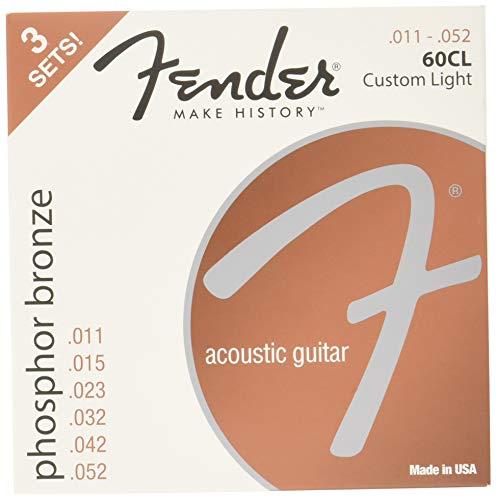 Fender Phosphor Bronze Acoustic Guitar Strings, Ball End, 60CL .11-.052 Gauges - 3-Pack