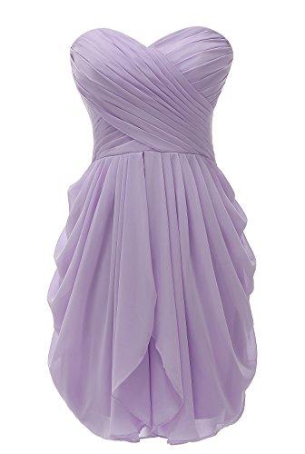 Wedding Maid Of Honor - Kiss Dress Short Strapless Prom Dress Soft Chiffon Evening Dress XL Lavender