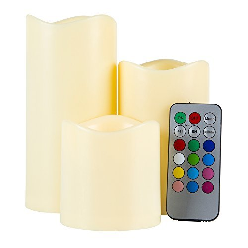 (Classic Candle Color Changing Led Flameless Candles With Timer Remote Control Home Decoration 1 Set 3 PCS Elegant Weddings, Classy Parties and Awesome)