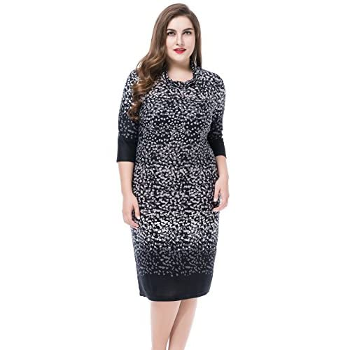 84b75730e5 Chicwe Women's Cowl Neck Printed Cashmere Touch Plus Size Dress Size 12-32  50%