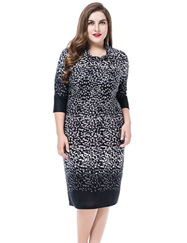 Chicwe Women's Cowl Neck Printed Cashmere Touch Plus Size Dress US'24, (Wide Cowl)