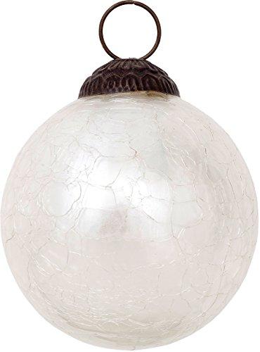 Glass Vintage Crackle (Luna Bazaar Large Mercury Glass Ornament (Lana Design, Crackle Motif, 3-Inch, Pearl White) - Vintage-Style Decoration)