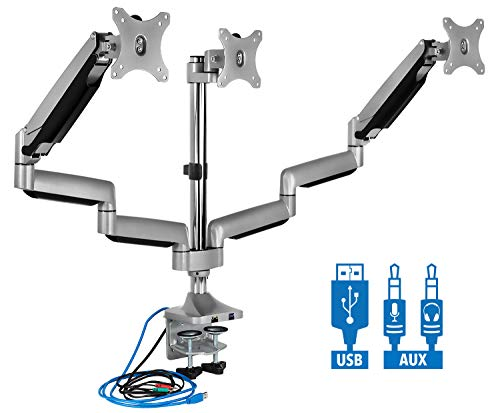 Mount-It! Triple Monitor Mount | Desk Stand with USB and Audio Ports | 3 Gas Spring Height Adjustable Arms for Three 24 27 30 32 Inch VESA Screens | C-Clamp and Grommet Base