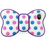 Leegoal(TM) Lovely 3d Butterfly Bowknot Back Soft Silicone Blue and Pink Dot Purple Frame Case Cover for Iphone 4 4g 4s