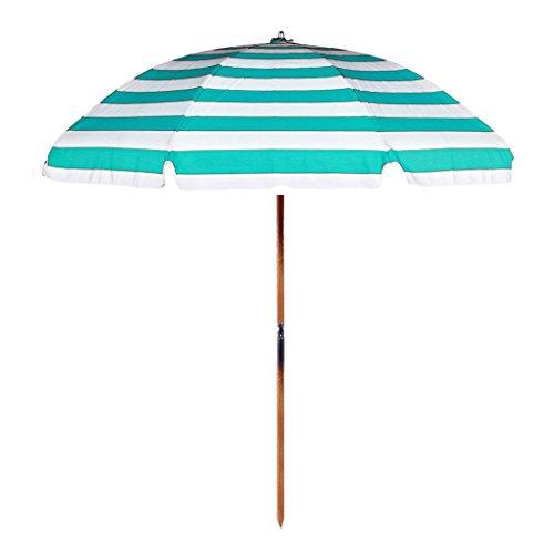 7.5' Commercial Grade Beach Umbrella Color: Turquoise / White Stripe ()