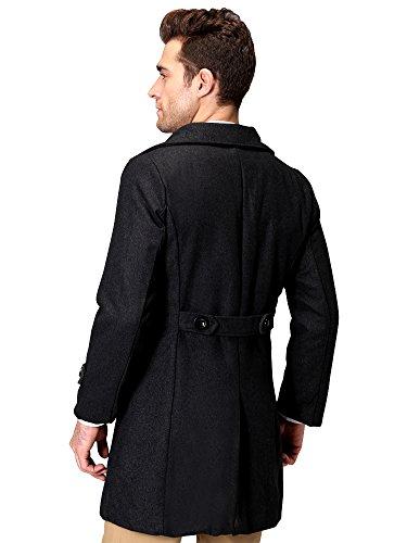 Gris Doble de Ochenta cuello lana Overcoat Turn Hombres Breasted Down B1zqPv