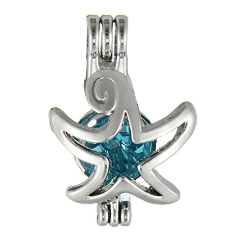 Pearl Necklace Starfish (10Pcs Starfish Pearl Bead Cage Pendant Rhodium Plated Locket for DIY Wish Pearl Love Pearl Necklace - Aromatherapy Jewelry)