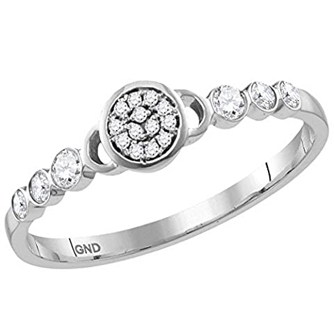 Ladies 10K White Gold Flower Cluster Stackable Ring 1/6 CT - 10k Gold Cluster Ring