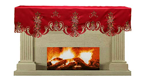 Creative Linens Holiday Christmas Mantel Scarf 19x70 Embroidered Bell Ornament Pinecone Winter Fireplace Decoration Red Gold (Christmas Mantel Scarf)