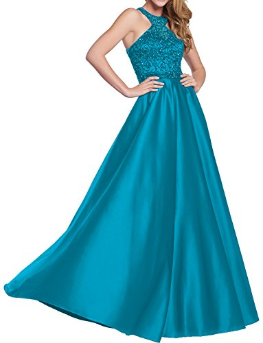 DressyMe Women's Beaded Evening Dresses Formal Prom Dress Halter A-Line Racerback-16-Blue