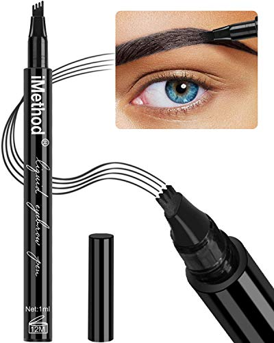 Eyebrow Tattoo Pen - iMethod Microblading Eyebrow Pencil with a Micro-Fork Tip Applicator Creates Natural Looking Brows Effortlessly and Stays on All Day, Black (Best Brow Pencil For Black Eyebrows)