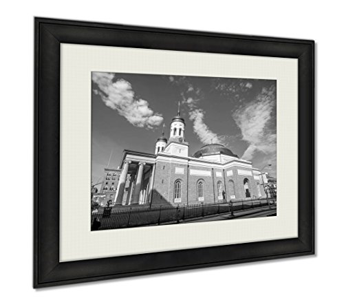 Ashley Framed Prints Basilica Of The Assumption In Downtown Baltimore, Wall Art Home Decoration, Black/White, 26x30 (frame size), AG6327739 by Ashley Framed Prints