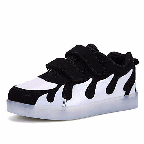 MINIKATA Kids Boys Girls Breathable LED Light up Shoes Flashing Sneakers (Black / -